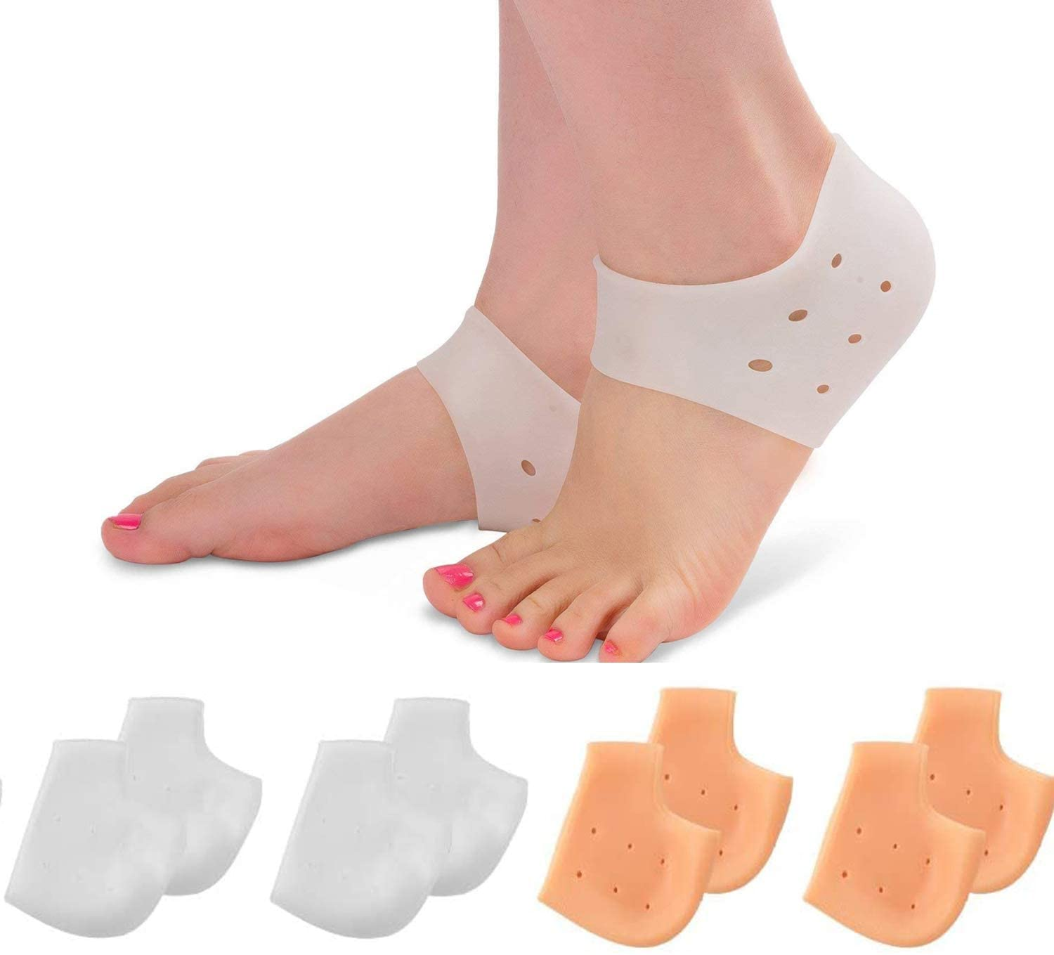 4 Pairs Silicone Heel Cups, Plantar Fasciitis Inserts, Breathable Heel Socks Protectors for Dry Cracked Heel and Reduce Pains of Plantar Fasciitis for Men and Women
