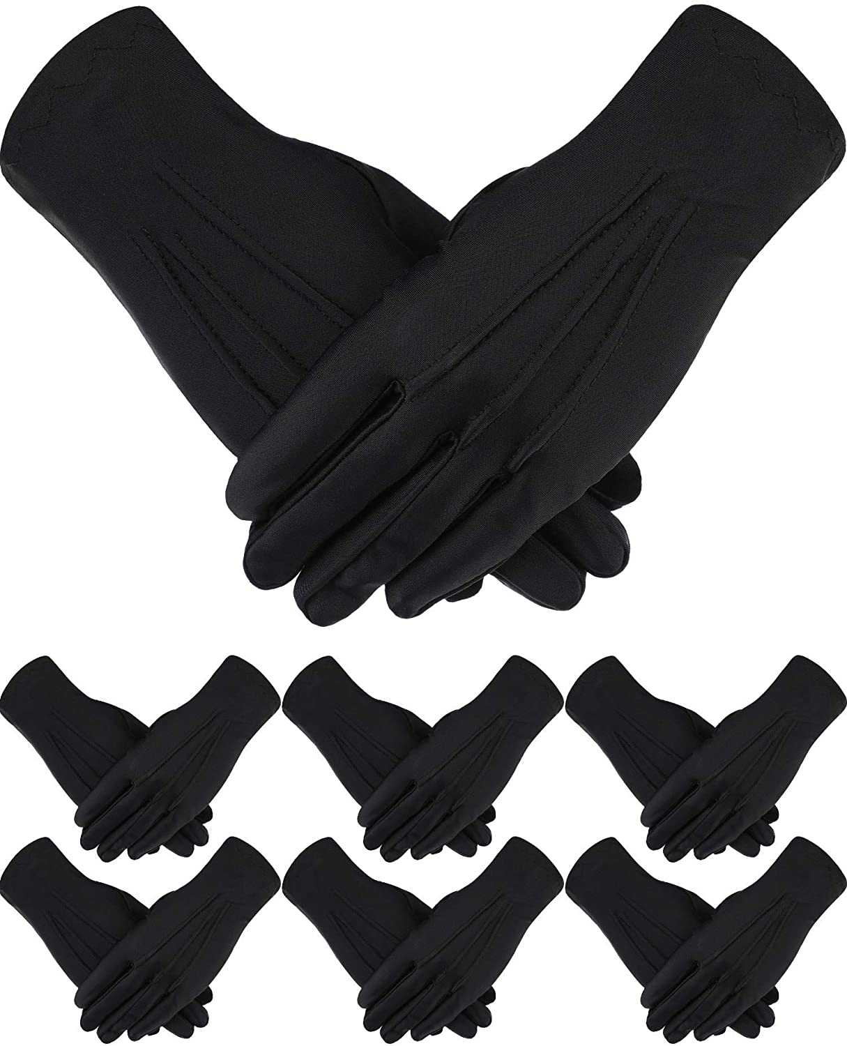 6 Pairs Uniform Gloves Parade Costume Gloves for Police Formal Tuxedo Guard
