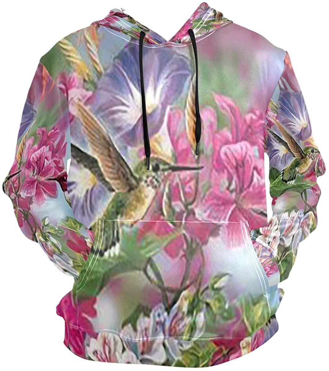 SLHFPX Hummingbird Flowers Hoodie 3D Pullover Hooded Long Sleeve Workout Sweatshirts