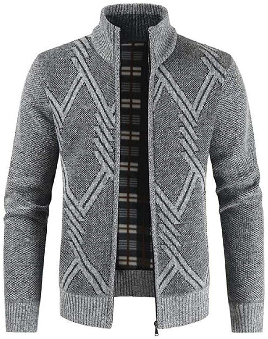 Mens Coat Knitted Fleece Lined Stand Collar Casual Sweater Cardigan Jacket Coat,Light Grey,US-XS