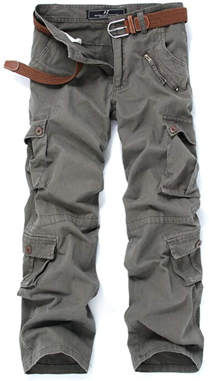 Flygo Men's Cotton Military Army Camo Ripstop Combat Work Cargo Pants 9 Pockets