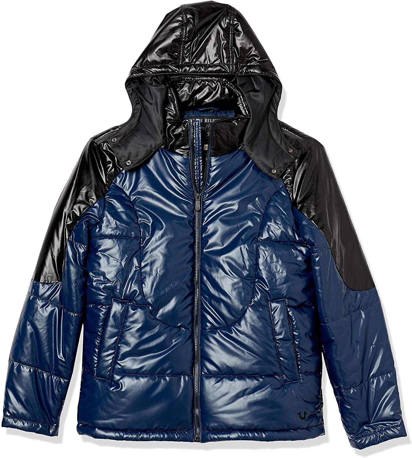 True Religion Mens Hooded Shiny Long Sleeve Puffer Jacket
