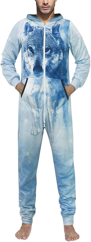 Mr.1991INC&Miss.GO Men's Adult Onesie Pajamas Long Sleeve 2 Pockets 2 Zipper Costume Jumpsuit