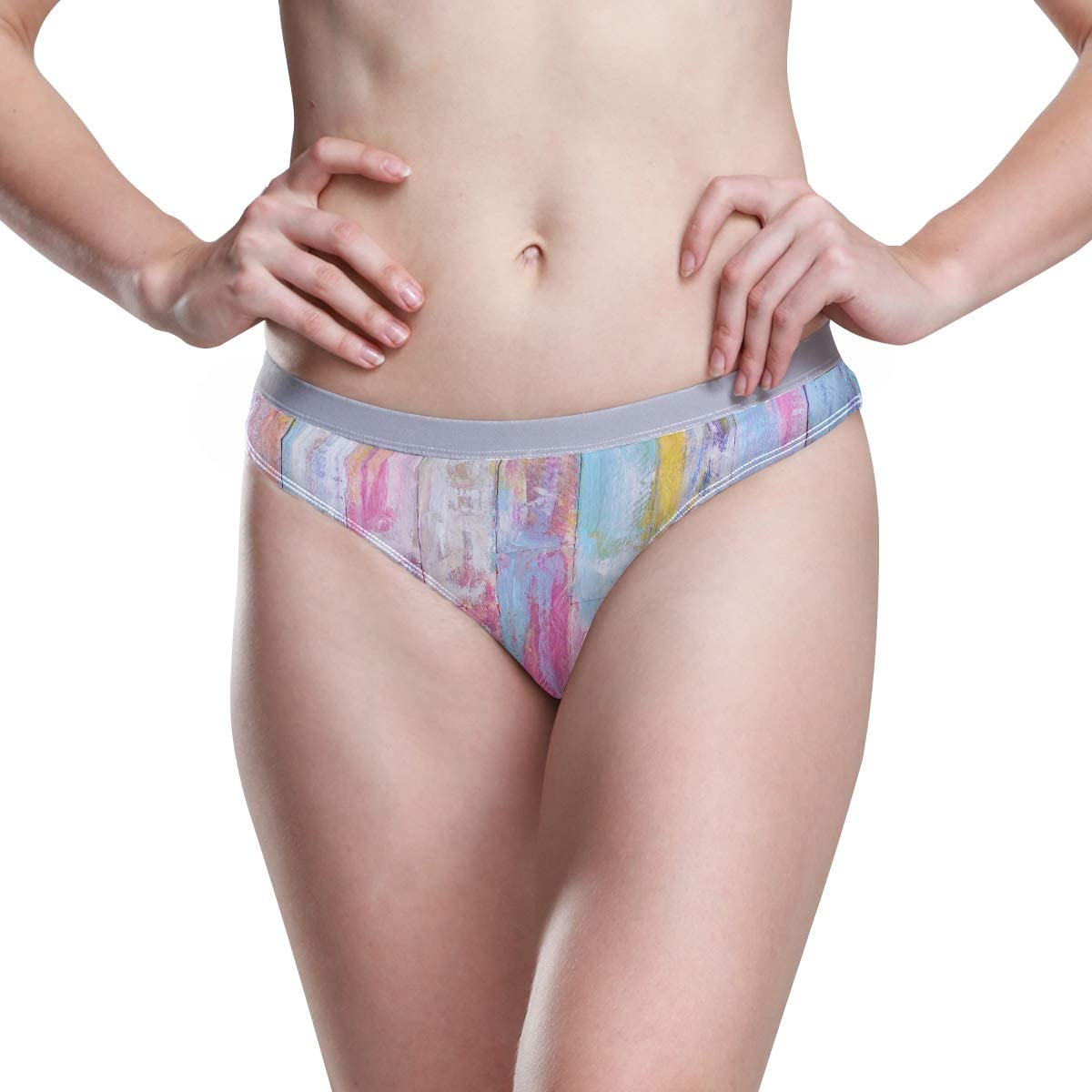 Women Underwear Bikini Vintage Colorful Wooden 3D Printed Sexy Low Waist Panties Hipster Comfy Briefs S