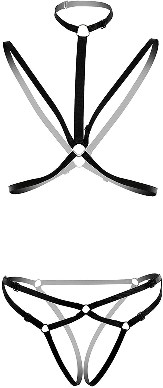 L04BABY Women Lingerie Harness Cage Bra Strappy Cupless Body Belt Strap 2pcs