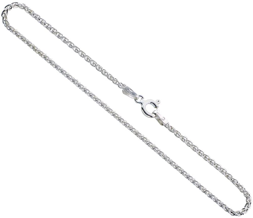 Sterling Silver Spiga Wheat Chain Anklet 1.9mm Nickel Free, Sizes 9-10 inch