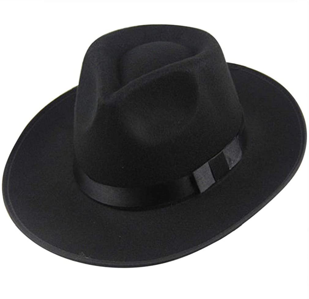 Familyhouse Classic Men Women Felt Hat Wide Brim UV Protection Bucket Bowler Hat