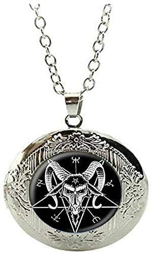 Aphomet Inverted Pentagram Locket Necklace Jewelry Gift Art Picture Jewelry