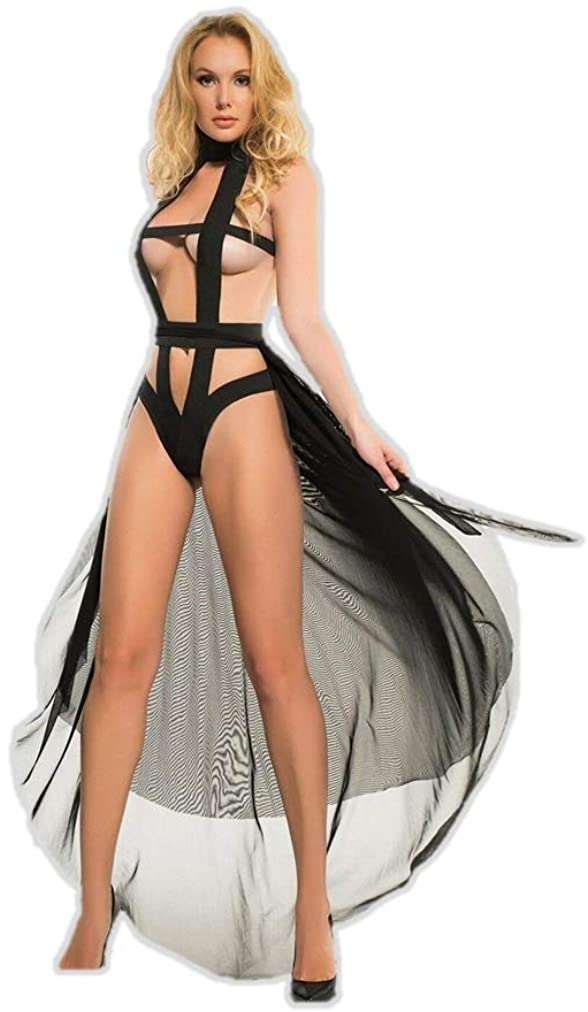 Allure Lingerie Adore A1015 Womens Edgy Teddy and Sheer Skirt Black/S