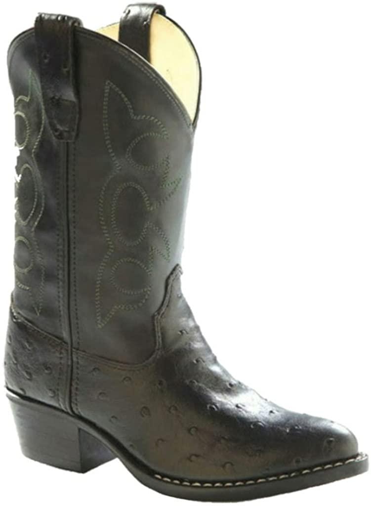 Old West Boys' Toddler Ostrich Print Vinyl Cowboy Boots