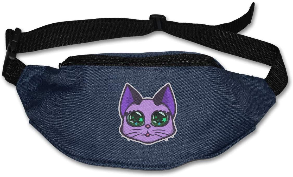SWEET-YZ Unisex Waist Pack Cute Cat Head Flat Fanny Bag Pack for Sport Running