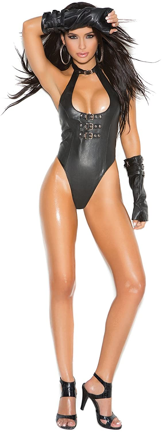 Women's Buckle Front Leather Thong Back Teddy Black