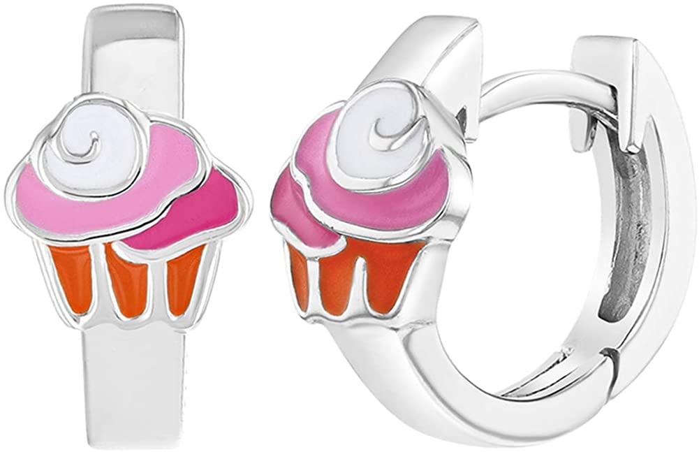 925 Sterling Silver Pink Enamel Cupcake Hoop Earrings for Girls Huggie 0.39