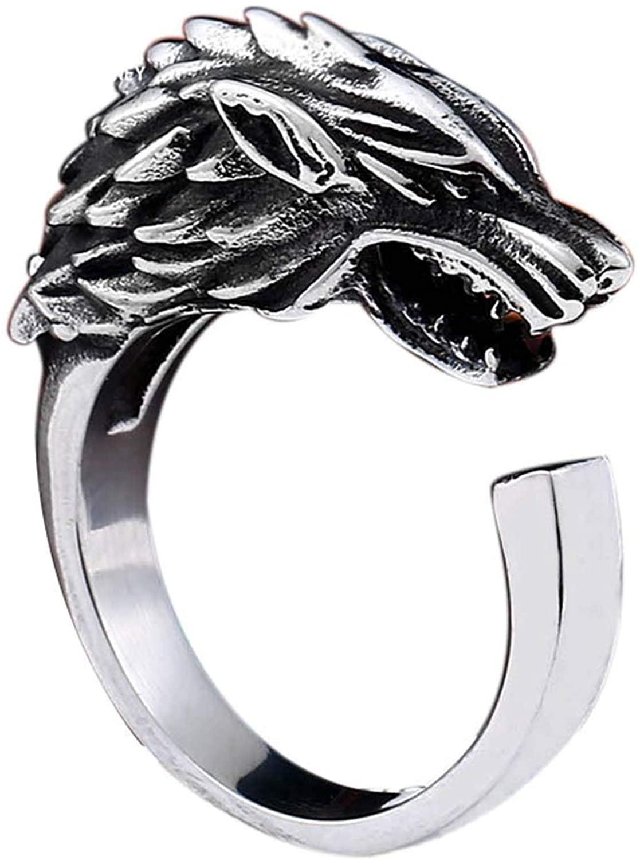 BAVAHA Game Thrones Ice Wolf House Stark Winterfell Animal opend Ring Fashion Jewelry