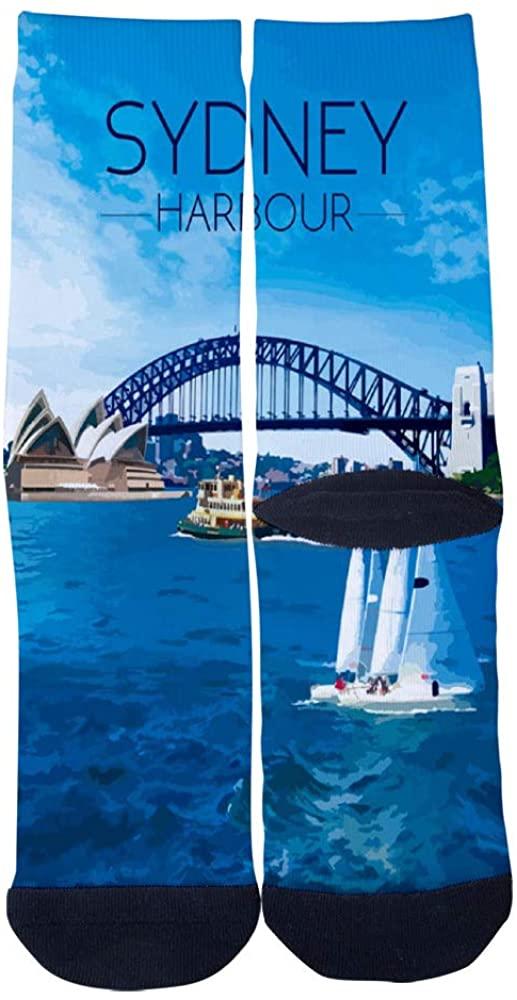 Sydney Harbour Bridge Sydney Opera House Australia Socks Men's Women's Casual Socks Custom Creative Crew Socks