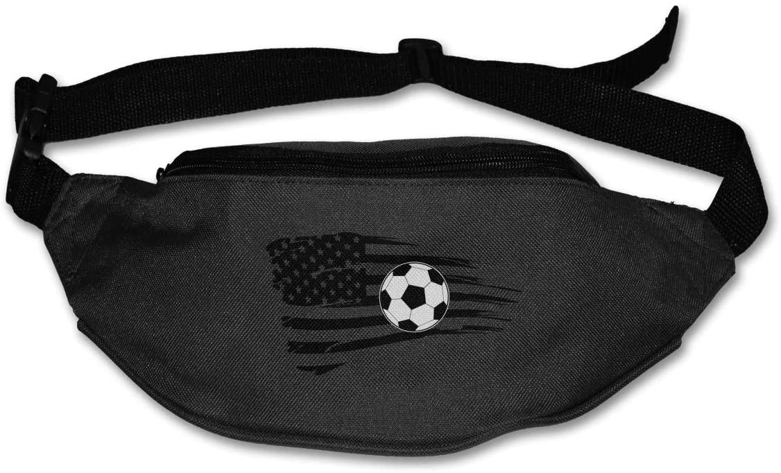 SWEET-YZ Unisex Waist Pack Soccer USA Flag Flat Fanny Bag Pack for Sport Running