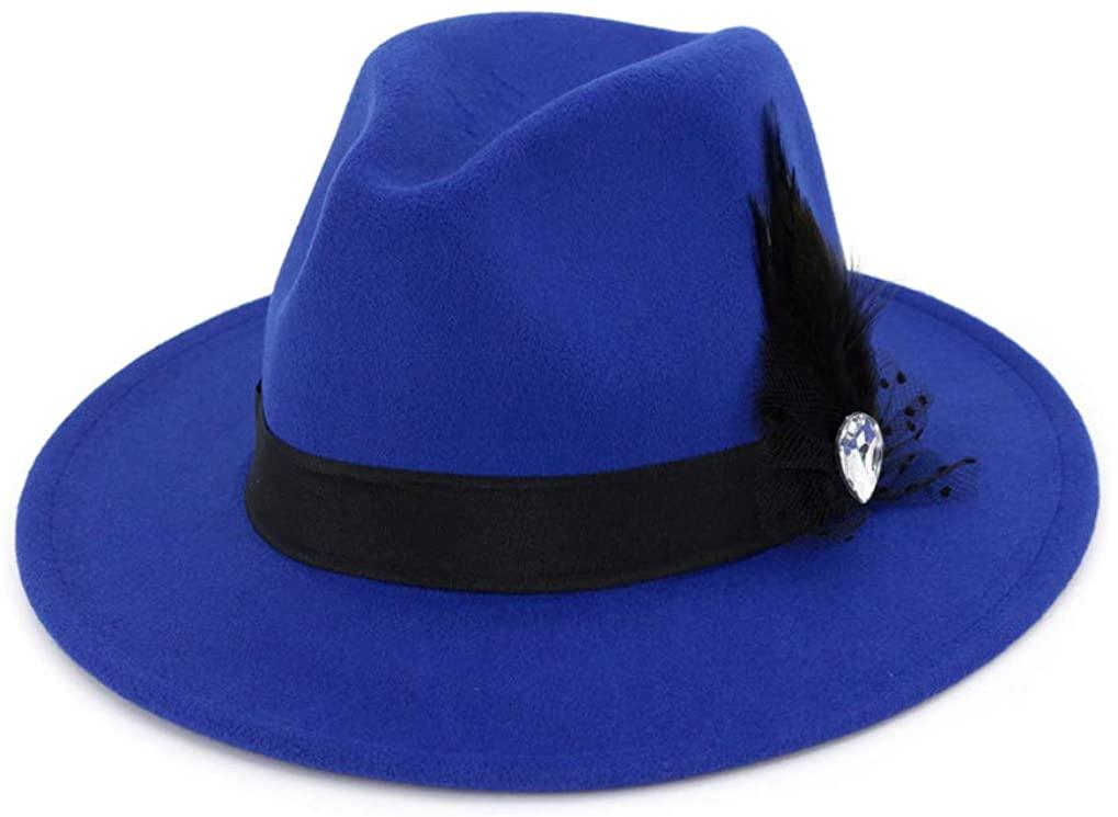 Unisex Woolen Felt Hat Panama Cap Elegant Belt Fedoras Flat Brim Formal Sun Cap
