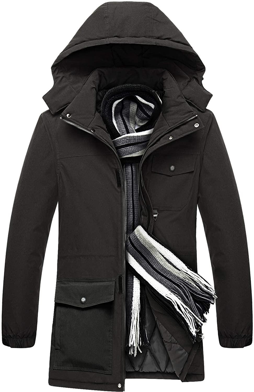 MECASTAR Mens Winter Fashion Casual Detachable Windproof Waterproof Cotton Coat Down Jacket