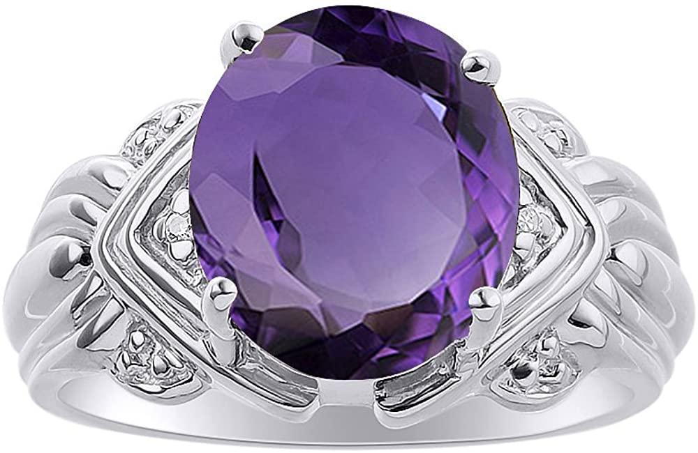 Diamond & Amethyst Ring Set In 14K White Gold - 12 X 10MM Color Stone Birthstone Ring