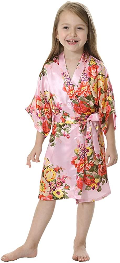 JOYTTON Girl's Satin Floral Kimono Flower Girl Getting Ready Robe for Wedding