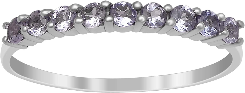 Shine Jewel Love Forever 9 Stone Half Eternity Natural Tanzanite 925 Sterling Silver Ring