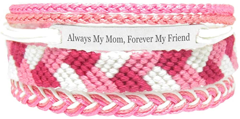 Miiras Family Engraved Handmade Bracelet - Always My Mom, Forever My Friend - Pink - Made of Embroidery Thread and Stainless Steel - Gift for Daughter