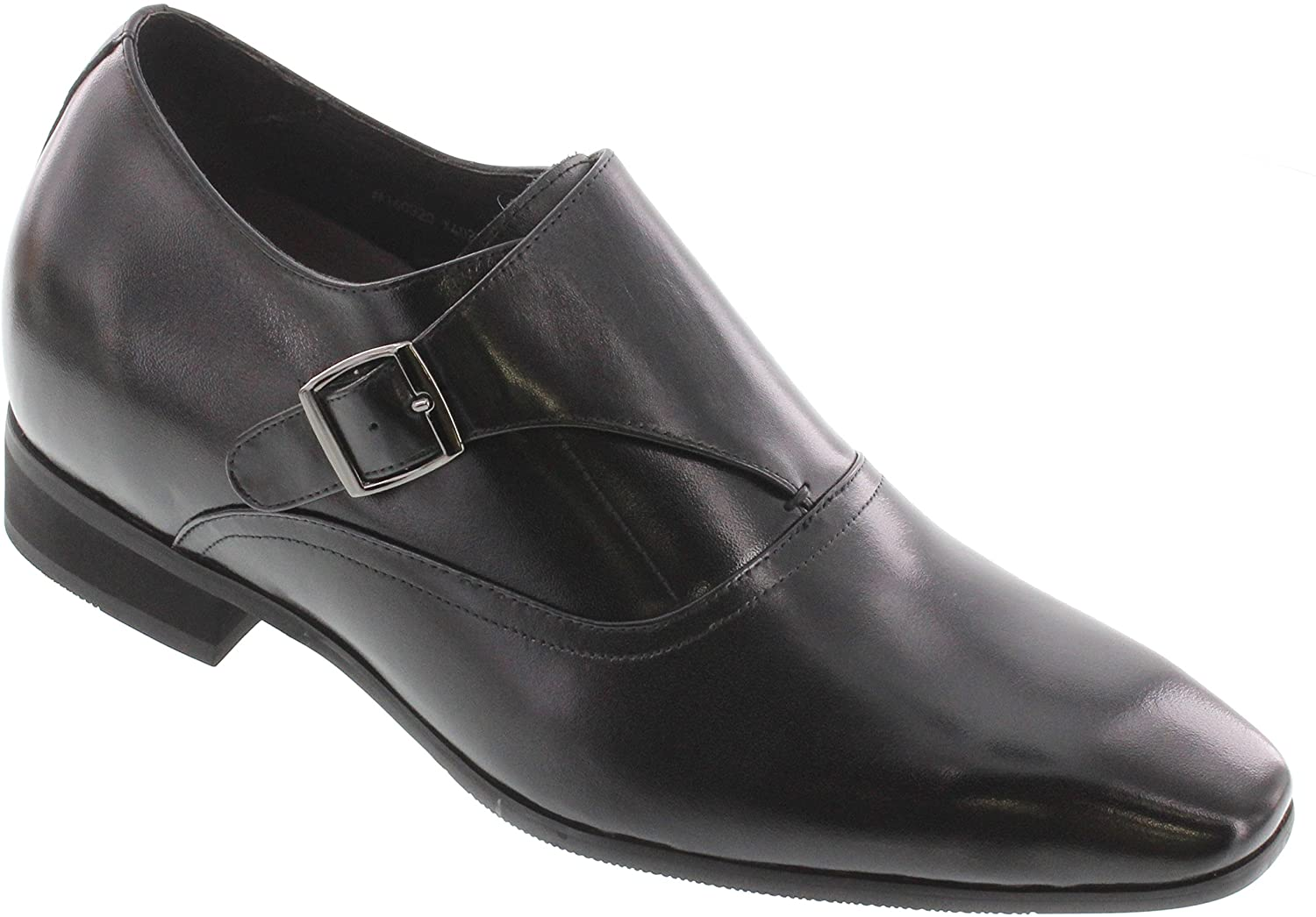 TOTO Men's Invisible Height Increasing Elevator Shoes - Black Leather Slip-on Lightweight Formal Loafers - 2.8 Inches Taller - X4022