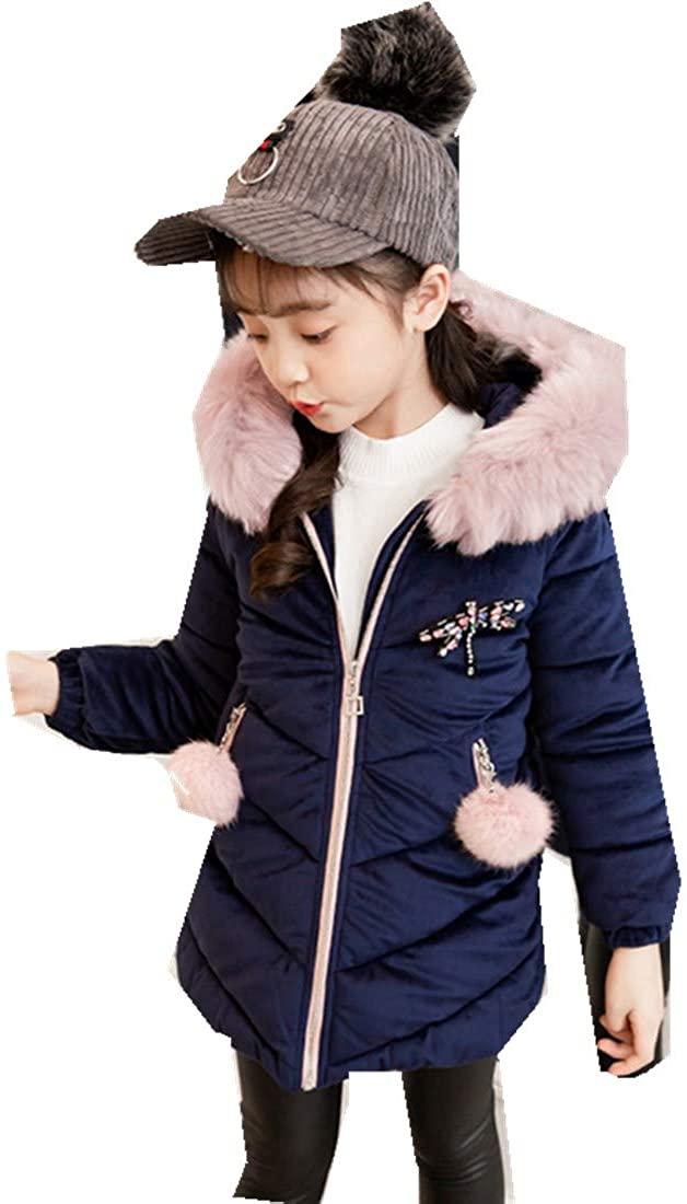 Children's Clothing Girls Gold Velvet Ocean Winter Jacket Thick Cotton Clothing