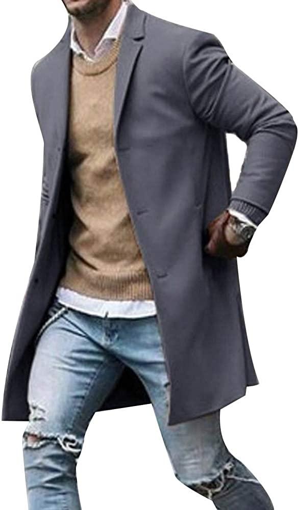 WarmQIQ Jackets for Men, Fashion Mens Coats Winter Solid Color Trench Coat Outwear Overcoat Long Sleeve Jacket