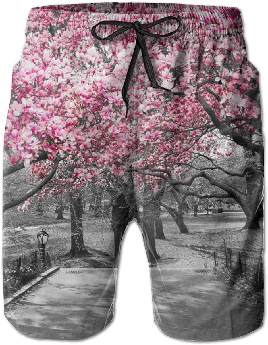 Mens Swim Trunks Male Swimtrunks Swimwear Street Peach Blossom Drawstring Elastic Waist Sports Beach Summer with Pockets
