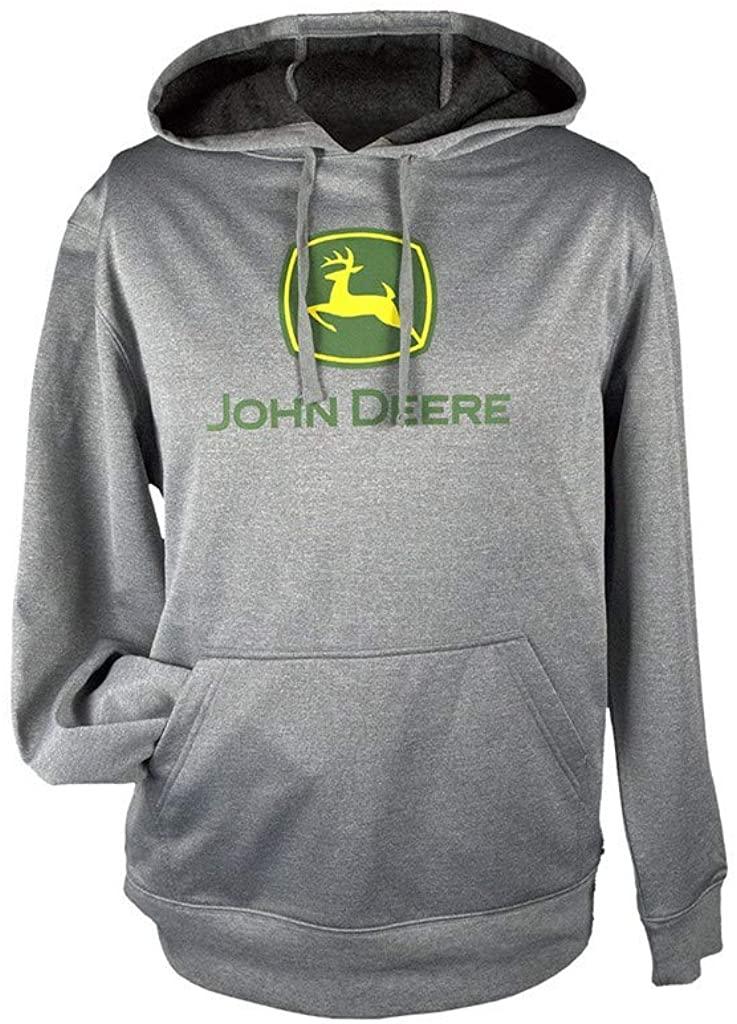 John Deere Men's Classic Logo Grey Fleece Pullover Hoodie