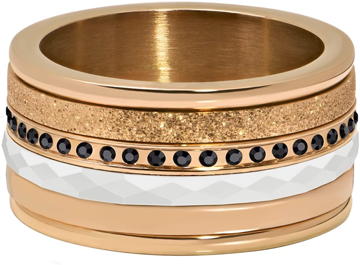 Quiges Retro Rose Gold Stainless Steel Zirconia Multi Color Stackable Ring Set with 4 Inner and 1 Base Ring