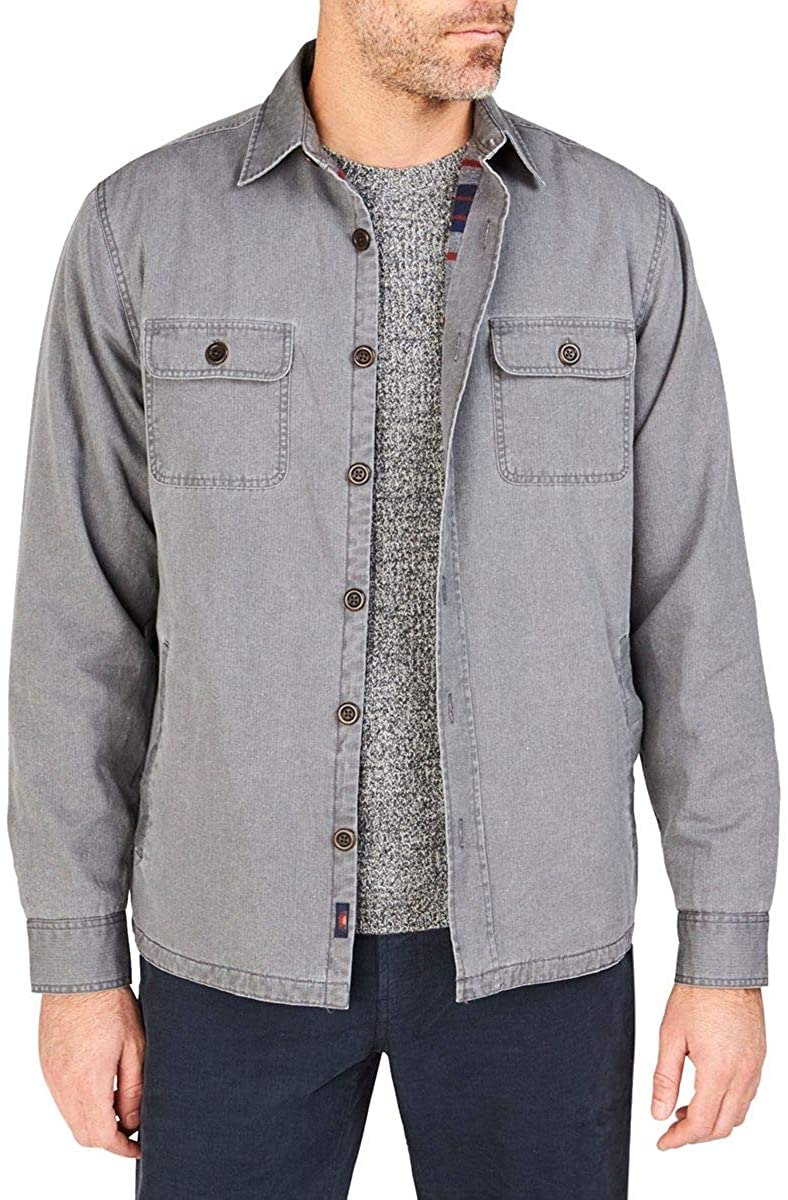 Faherty Men's Blanket Lined CPO Jacket in Grey