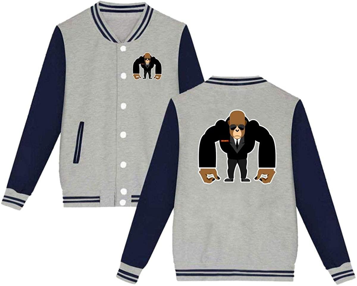 Unisex Varsity Jacket Gorilla King Kong Baseball Letterman Jackets Sport Coats