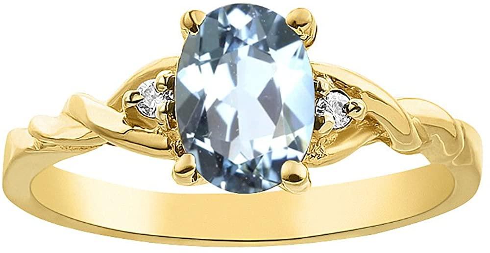 Diamond & Aquamarine Ring Set In 14K Yellow Gold Solitaire