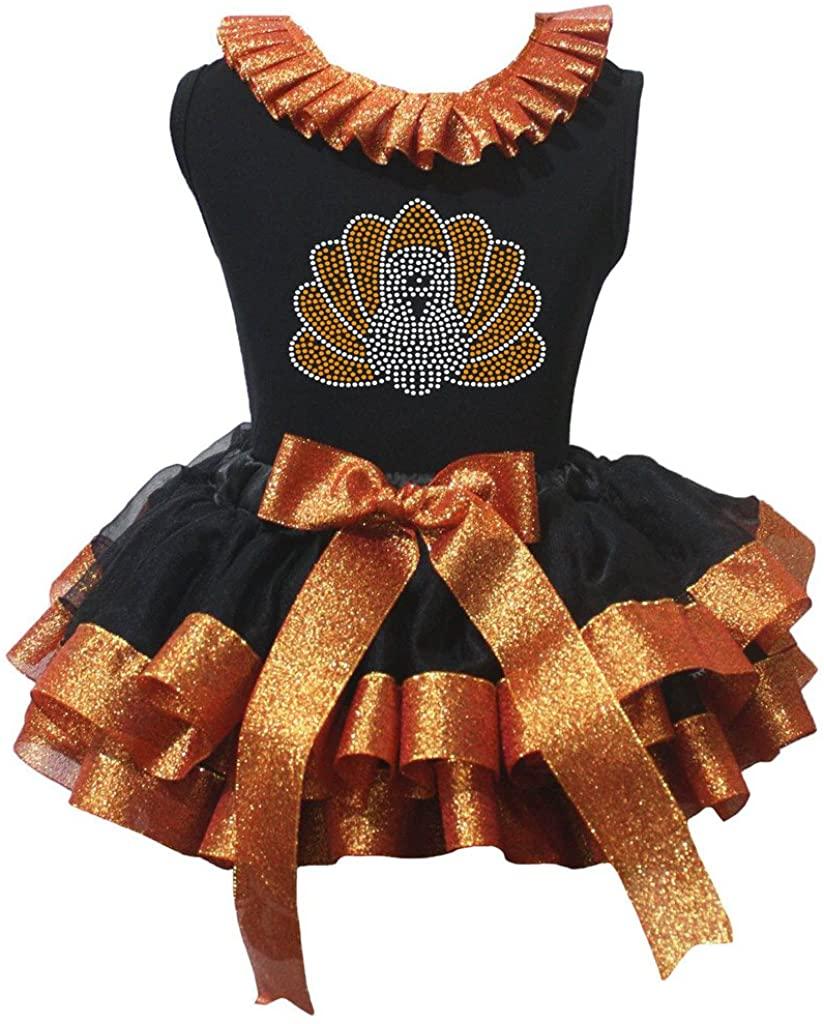 Petitebella Thanksgiving Bling Turkey Shirt Orange Black Petal Skirt Nb-8y