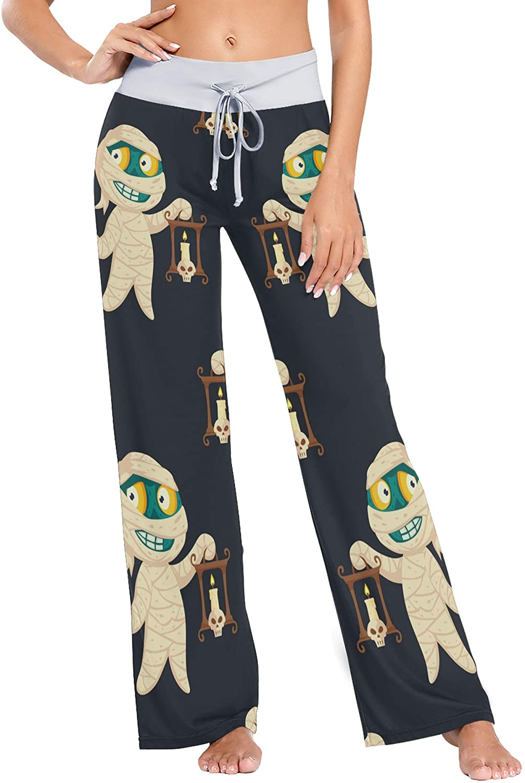 VVIEER Mummy Holding Candle Print Womens Sleepwear Loose Palazzo Casual Drawstring Yoga Pants