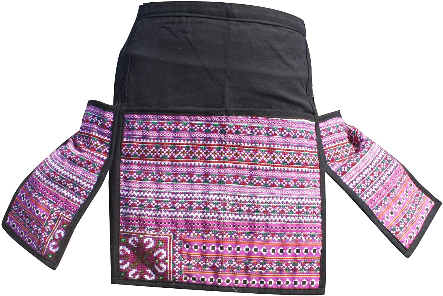 RaanPahMuang Apron or Waitress Waist Money Bag Pouch Hill Tribe Change Belt, Black Perple