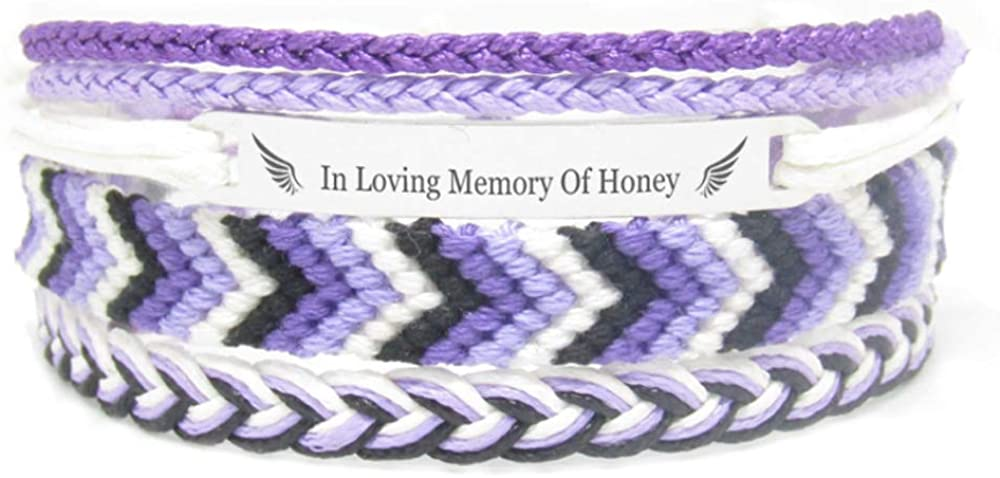 Miiras Remembrance Bracelet, Memorial Jewelry - in Loving Memory of Honey - Purple 1- Beautiful Way to Remember Your Honey That is no Longer with You