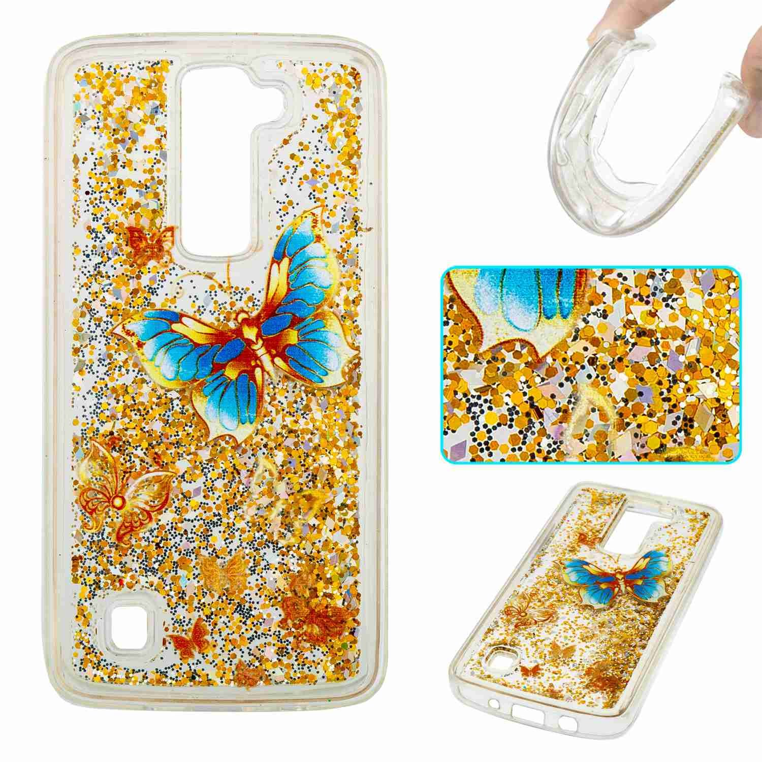 STENES LG K8 Case - 3D Creative Luxury Bling Glitter Sparkle Liquid Case Infused With Glitter and Stars Moving Quicksand Soft Case For LG Phoenix 2 /Escape 3 /LG K8 (2016) - Gold Blue Butterfly