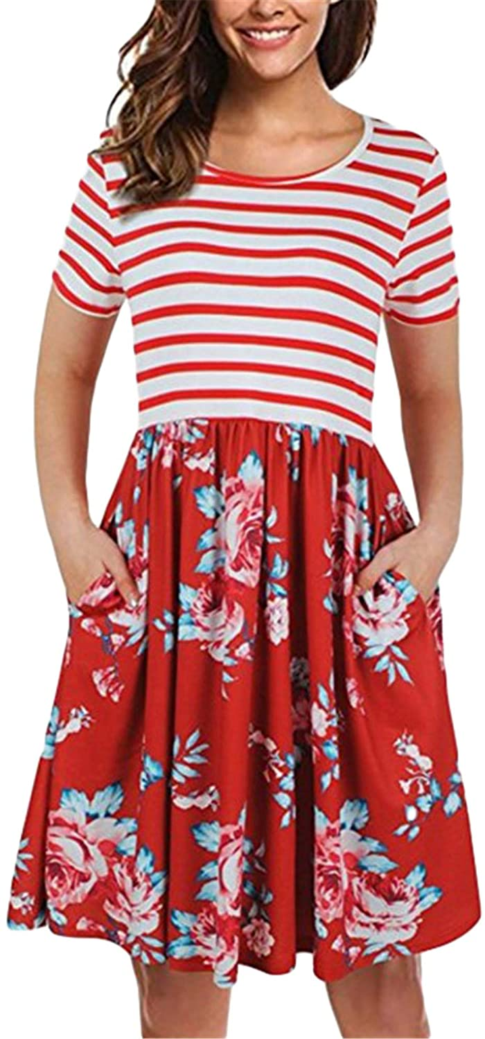 Soluo Womens Vintage Floral Flared A-Line Swing Dress Casual Print Pocket Cocktail Short Sleeve Dresses
