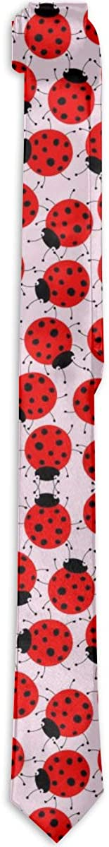 Ladybugs Pattern Mens Classic Tie Skinny Necktie Neckwear