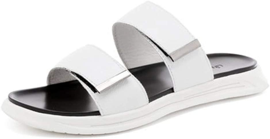 Men's Sandals Summer Men's Sandals Fashion Wild Outdoor Sandals One-Word Drag Men's Shoes Roman Sandals Sandals (Color : White, Size : 38)
