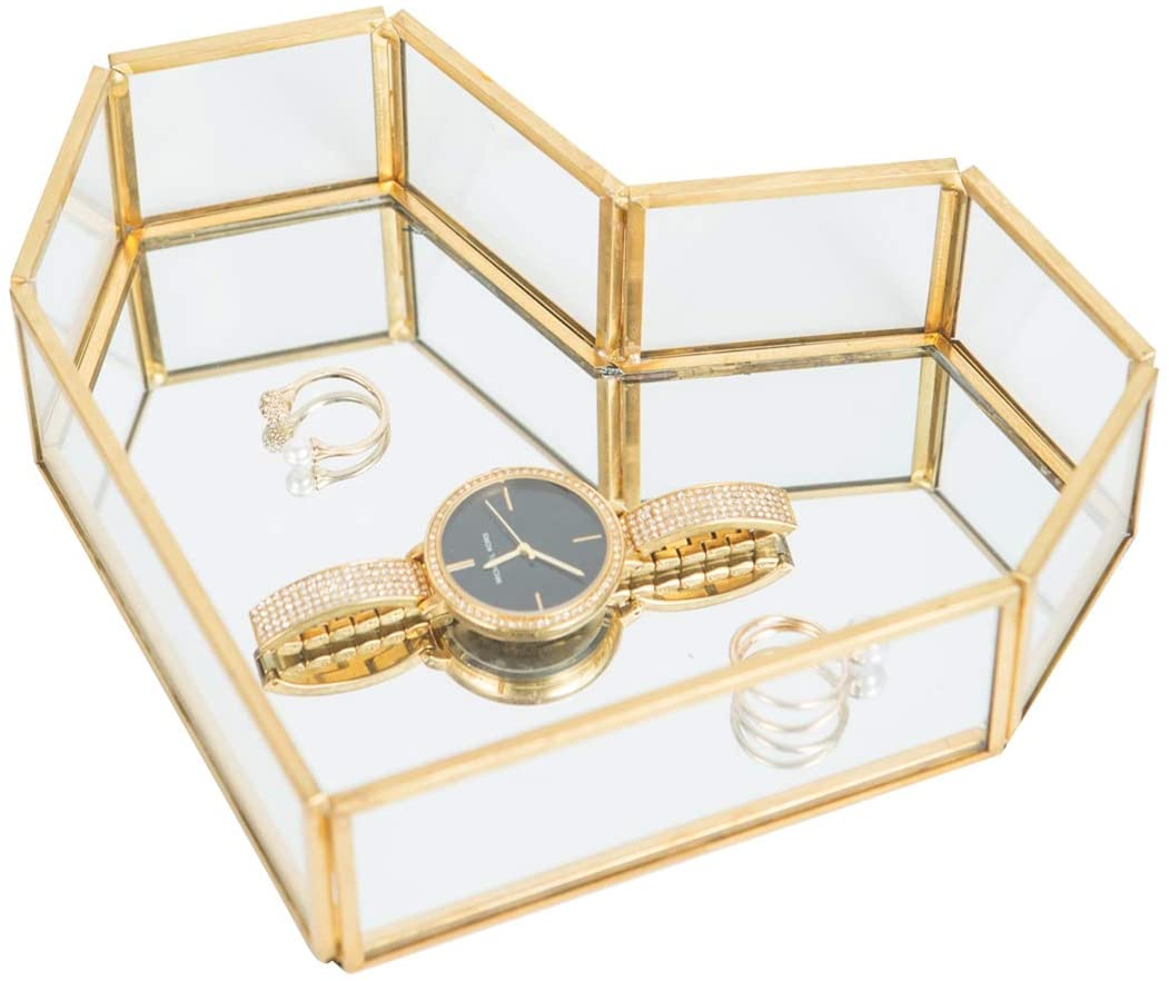 Golden Glass Jewelry Tray, Small Jewel Display Box Clear Glass Case Organizers Lidded Treasure Box Perfect for Desktop, Dresser, Bathroom and Home Decor, Gold Brass Edge, Nice Gift, Heart-Shaped