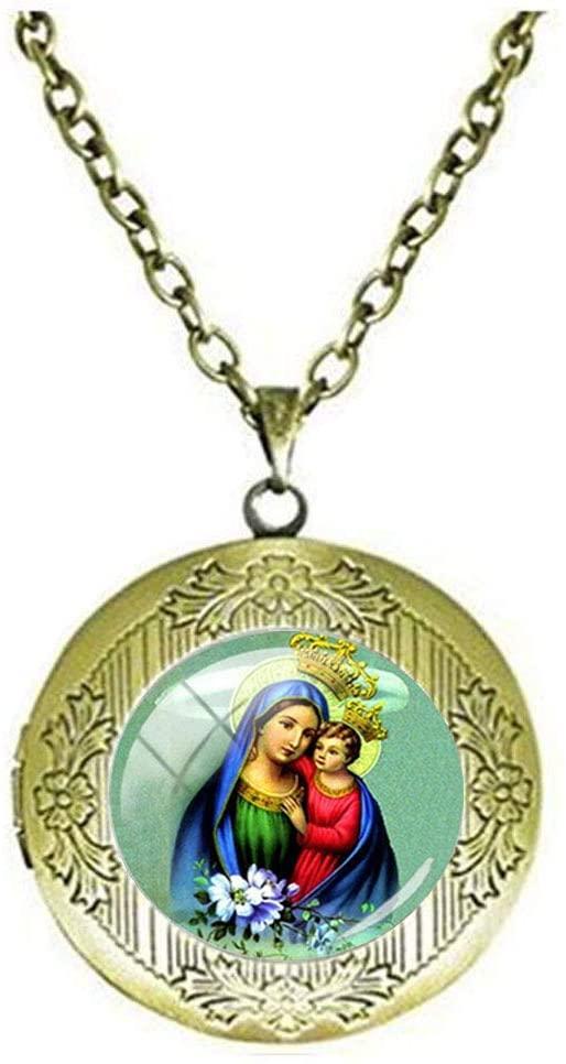 Beautiful Virgin Mary and Jesus Kids Glass Locket Necklace Art Photo Jewelry Birthday Festival Gift Beautiful Gift