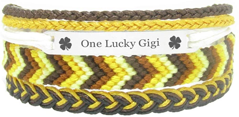 Miiras Family Engraved Handmade Bracelet - One Lucky Gigi - Yellow - Made of Embroidery Thread and Stainless Steel - Gift for Gigi