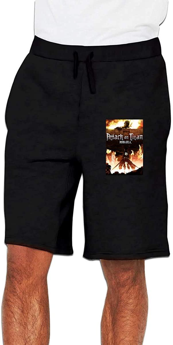 Attack On Titan Men's Casual Shorts Elastic Waist Drawstring Slim Fit Summer Pants with Pockets