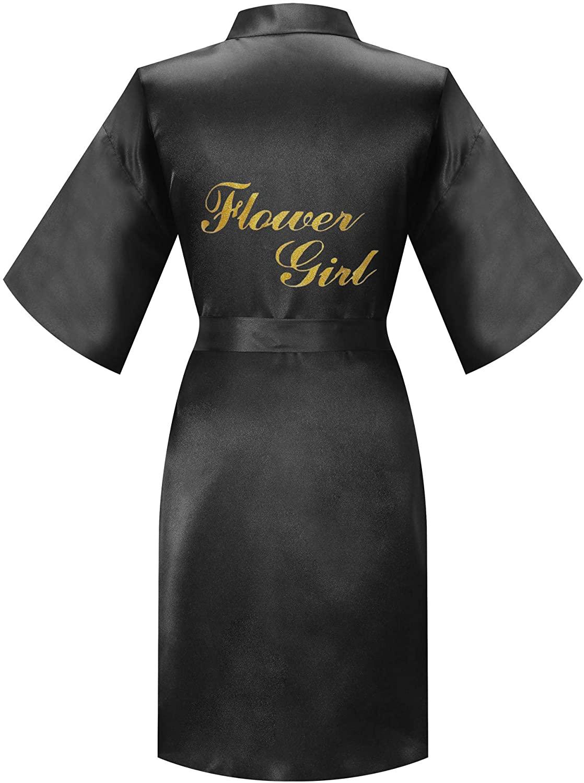 MORFORU Gold Glittering Flower Girl Silky Satin Kimono Robe Solid Color Kids Sleepwear for Wedding Spa Party, Short