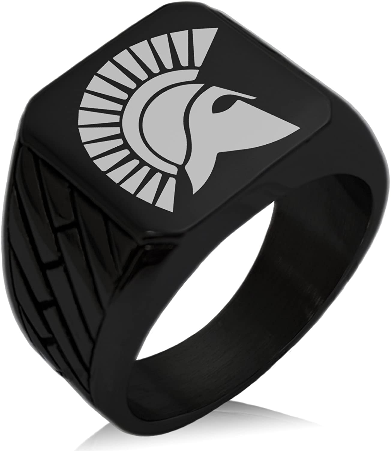 Tioneer Stainless Steel Ares Greek God of War Geometric Pattern Biker Style Polished Ring