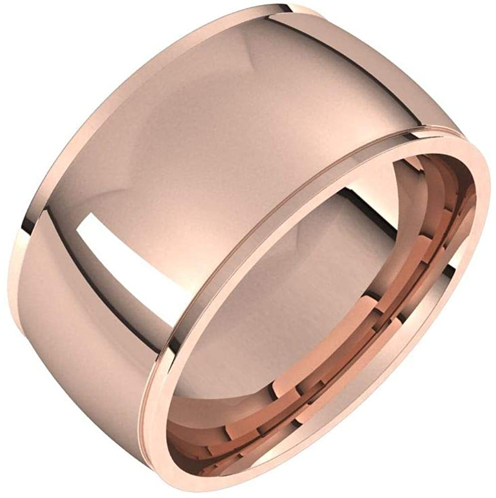 Bonyak Jewelry 10k Rose Gold 10mm Comfort Fit Edge Band - Size 11